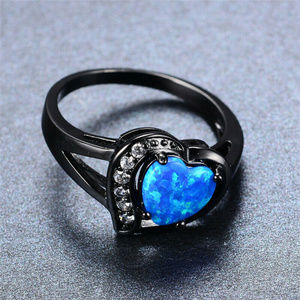 Black Rhodium Plated 7.5mm Heart Shaped Opal Ring